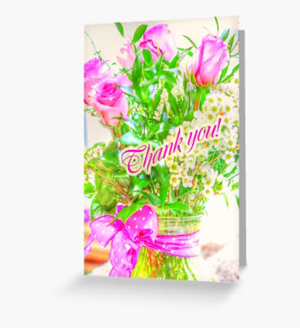 Thank You Greeting Card - Roses in Bouquet Greeting Card