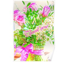 Thank You Greeting Card - Roses in Bouquet Poster