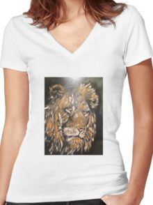 African Male Lion Women's Fitted V-Neck T-Shirt