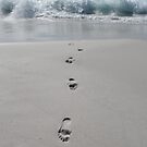Footprints coming out of the sea by Marlene Hielema