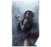 Call of the Morrighan - Dark Goddess with Skull Poster