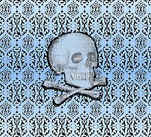 Antique Blue Skull and Lace by ArtVixen