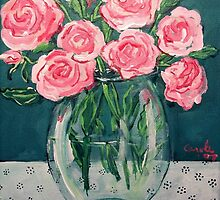 Roses in Vase by Carole Chapla