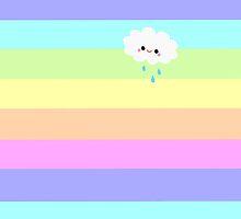 Kawaii Cloud Pastel Rainbow Stripes  by ArtVixen