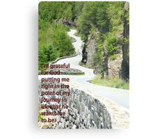 I'm grateful for God putting me right in the point of my journey in life that he wants me to be. Metal Print