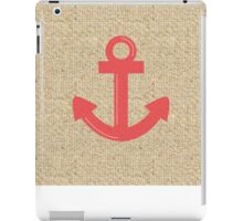 Red boat anchor burlap case iPad Case/Skin