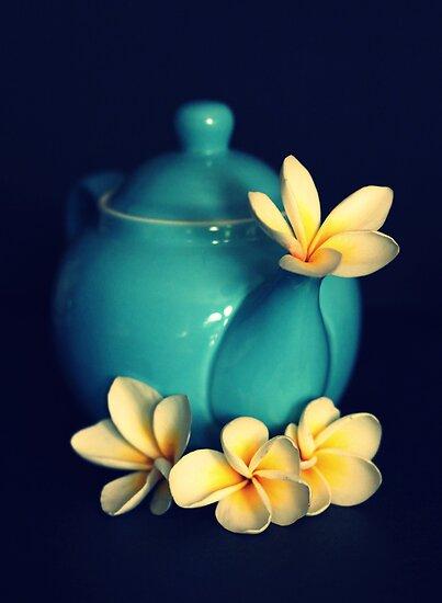 Blue Teapot And Frangipanis by Evita
