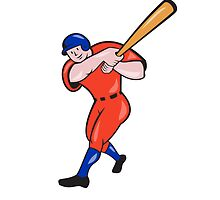 Baseball Hitter Batting Red Isolated Cartoon by patrimonio