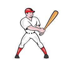 Baseball Hitter Batting Isolated Cartoon by patrimonio