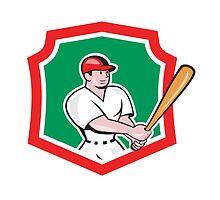 Baseball Player Batting Crest Cartoon by patrimonio