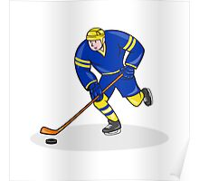 Ice Hockey Player Side With Stick Cartoon Poster