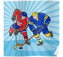 Ice Hockey Player Front With Stick Retro Poster