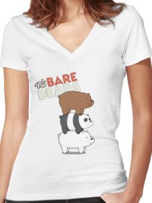 We Bare Bears - Cartoon Network Women's Fitted V-Neck T-Shirt