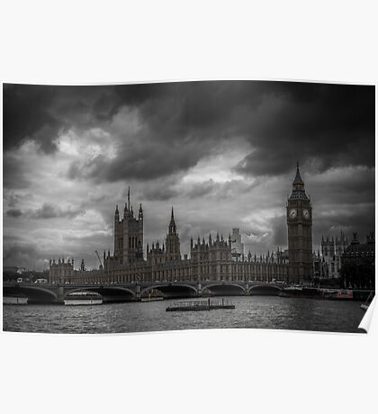 A Dark Day Over London's Westminster Palace Poster