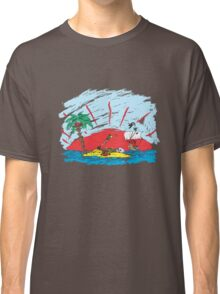 colorful sketch of a treasure island and pirate ship Classic T-Shirt