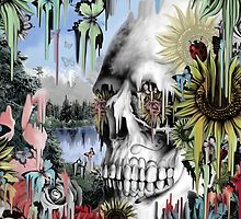 May showers, melting floral skull by KristyPatterson