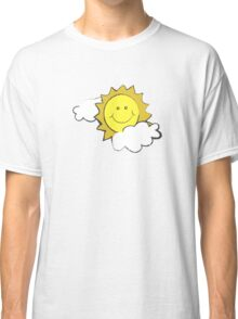 colorful sketch of the sun partly covered with clouds Classic T-Shirt