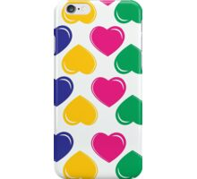 pattern with colorful hearts on white background iPhone Case/Skin
