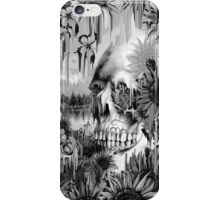 May showers, melting floral skull in grey iPhone Case/Skin