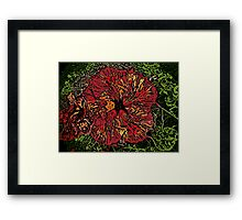Artistic red woodcut hibiscus flower Framed Print