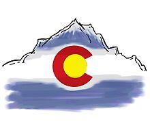 Colorado flag artistic mountain scene Photographic Print