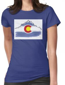 Colorado flag artistic mountain scene Womens Fitted T-Shirt