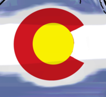 Colorado flag artistic mountain scene Sticker