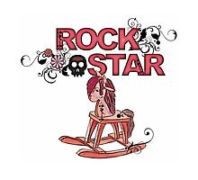 Cute funny pink rock star rocking horse by artisticattitud