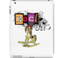 Cute funny grunge rock on rocking horse iPad Case/Skin