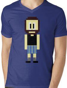 Pixel Scotsman Mens V-Neck T-Shirt