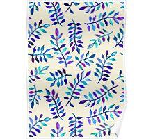 Hand Painted Purple & Aqua Leaf Pattern on Cream Poster