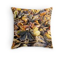 Fallen Leaves on Frosty Morning Throw Pillow