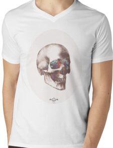 Skull and flowers Mens V-Neck T-Shirt