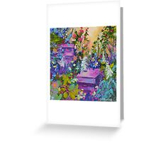 Beehives in the Garden Traditional Fine Art Oil Painting by Ekaterina Chernova Greeting Card