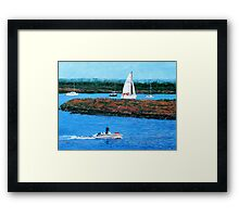 Speedboat Heading Out To Sea. Framed Print