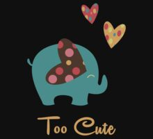 Cute Elephant With Hearts  Kids Tee