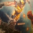 Full wall mural of The Punisher, The Wolverine and Iron Man by imajica