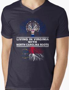 LIVING IN VIRGINIA WITH NORTH CAROLINA ROOTS Mens V-Neck T-Shirt