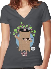 Anna Log Women's Fitted V-Neck T-Shirt