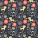pattern of funny kittens and fish by Tanor