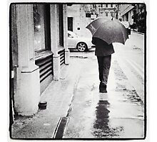 Walking in Rain Photographic Print