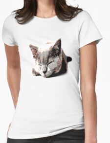 Sleeping kitty Womens Fitted T-Shirt