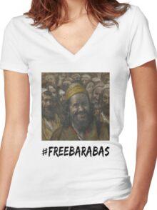 #freebarabas Women's Fitted V-Neck T-Shirt