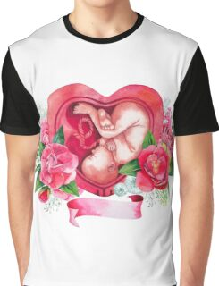 Watercolor fetus inside the womb Graphic T-Shirt