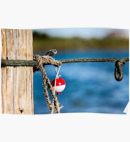 Interesting red and white fishing float bobber  Poster