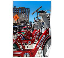 Red bicycles in Austin Poster