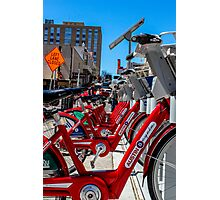 Red bicycles in Austin Photographic Print
