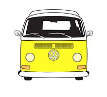 Early Bay VW Camper Front Yellow by splashgti