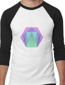 Hexagon Pattern Muted Colour Pattern Men's Baseball ¾ T-Shirt
