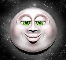 Full Moon Smiling Face 3D  by BluedarkArt